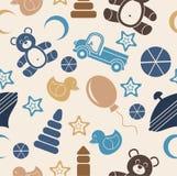 Modello senza cuciture, giocattolo per i bambini su un fondo beige illustrazione di stock