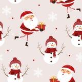Modello senza cuciture il Babbo Natale divertente e pupazzo di neve illustrazione di stock
