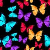 Modello senza cuciture il illust blu di vettore del monarca di morpho della farfalla fotografia stock libera da diritti