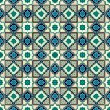 Modello senza cuciture islamico classico Mosaico arabo blu Illustrazione di vettore Fotografia Stock