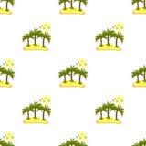 Modello senza cuciture, isola del mare con le palme e contorni blu Fotografia Stock Libera da Diritti