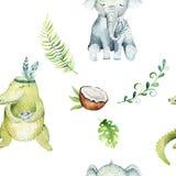 Modello senza cuciture isolato scuola materna degli animali del bambino Disegno tropicale di boho dell'acquerello, coccodrillo sv Fotografia Stock Libera da Diritti