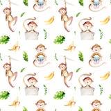 Modello senza cuciture isolato scuola materna degli animali del bambino Disegno tropicale di boho dell'acquerello, scimmia svegli Fotografia Stock Libera da Diritti
