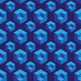 Modello senza cuciture isometrico con i cubi di illusione ottica Fotografie Stock Libere da Diritti