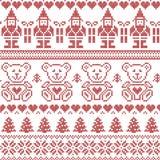 Modello senza cuciture ispirato scandinavo di natale del nordico con l'elfo, stelle, orsacchiotti, neve, alberi di natale, fiocch Immagine Stock