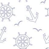 Modello senza cuciture lineare di vettore dei volanti del mare, ancore, gabbiani illustrazione vettoriale