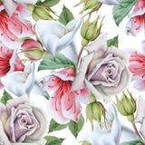Modello senza cuciture luminoso con i fiori calla Rosa Illustrazione dell'acquerello fotografia stock