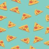 Modello senza cuciture luminoso della fetta della pizza Illustrazione di vettore Fotografie Stock Libere da Diritti