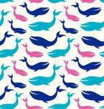 Modello senza cuciture marino con le balene, fondo decorativo con i ventilatori divertenti royalty illustrazione gratis