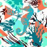 Modello senza cuciture marino dell'acquerello astratto creativo illustrazione di stock