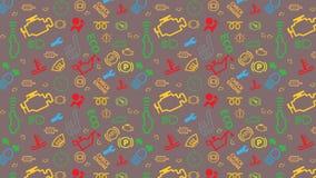 Modello senza cuciture marrone di vettore Struttura delle icone del cruscotto dell'automobile Ripetizione dei segni di codice del Fotografia Stock