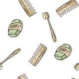 Modello senza cuciture materiale naturale dello spazzolino da denti, del sapone e del pettine Prodotto dello zero-spreco ed ecolo illustrazione di stock