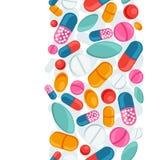 Modello senza cuciture medico con le pillole e le capsule Immagine Stock