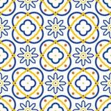 Modello senza cuciture mediterraneo blu e bianco di Azulejos delle mattonelle Immagine Stock Libera da Diritti
