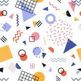 Modello senza cuciture moderno con le linee variopinte e le forme geometriche su fondo bianco Contesto astratto d'avanguardia Vet illustrazione di stock