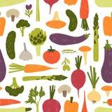 Modello senza cuciture moderno con le verdure deliziose o i raccolti effettuati su fondo nero Contesto con sano illustrazione vettoriale