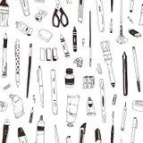 Modello senza cuciture monocromatico con cancelleria, gli oggetti di disegno, i prodotti di creatività o gli articoli per ufficio illustrazione vettoriale