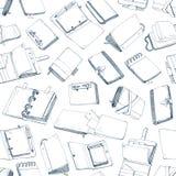 Modello senza cuciture monocromatico con i blocchi note, taccuini, diari, sketchbooks disegnati a mano con le linee di contorno s royalty illustrazione gratis