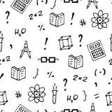 Modello senza cuciture monocromatico con i libri, i simboli ed i calcolatori illustrazione vettoriale