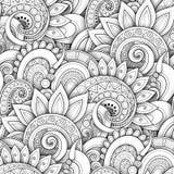 Modello senza cuciture monocromatico con i motivi floreali illustrazione di stock
