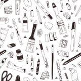 Modello senza cuciture monocromatico con i rifornimenti di scuola, cancelleria, strumenti di scrittura, utensili di arte disegnat illustrazione di stock