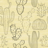 Modello senza cuciture monocromatico con il cactus Illustrazione di vettore Fotografia Stock
