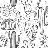 Modello senza cuciture monocromatico con il cactus Illustrazione di vettore Fotografie Stock