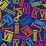 Modello senza cuciture multicolore di numeri romani Immagini Stock Libere da Diritti