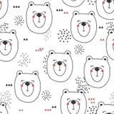 Modello senza cuciture, museruole degli orsi Fondo sveglio in bianco e nero con gli animali felici illustrazione di stock