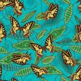 Modello senza cuciture naturale del batik verde della farfalla illustrazione vettoriale