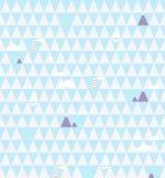 Modello senza cuciture nautico di vettore con i fari, le navi, le nuvole e le montagne sul fondo geometrico astratto dei triangol illustrazione di stock