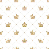 Modello senza cuciture nel retro stile con una corona dell'oro su un fondo bianco Può essere usato per la carta da parati, i mate Fotografia Stock