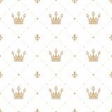 Modello senza cuciture nel retro stile con una corona dell'oro su un fondo bianco Può essere usato per la carta da parati, i mate Immagine Stock