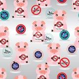 Modello senza cuciture non halal della tenuta del maiale illustrazione vettoriale