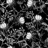 Modello senza cuciture orientale in bianco e nero della b morbida e graziosa illustrazione vettoriale