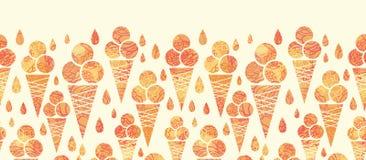 Modello senza cuciture orizzontale dei coni gelati di estate Fotografie Stock Libere da Diritti
