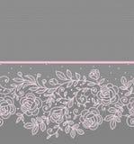 Modello senza cuciture orizzontale del pizzo rosa delle rose Fotografia Stock Libera da Diritti