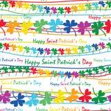 Modello senza cuciture orizzontale del trifoglio dell'arcobaleno di giorno del ` s di St Patrick illustrazione di stock