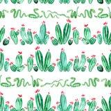 Modello senza cuciture orizzontale dell'acquerello dei serpenti e del cactus su fondo bianco royalty illustrazione gratis