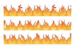 Modello senza cuciture orizzontale della siluetta di incendio violento Il pericolo fiammeggia l'illustrazione di vettore illustrazione di stock