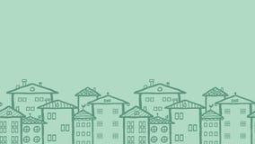 Modello senza cuciture orizzontale delle case di città di scarabocchio Immagini Stock
