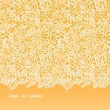 Modello senza cuciture orizzontale delle rose dorate del pizzo Immagine Stock