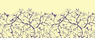 Modello senza cuciture orizzontale dipinto dei brunch dell'albero Immagini Stock Libere da Diritti