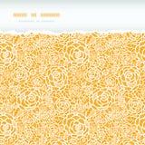 Modello senza cuciture orizzontale lacerato delle rose dorate del pizzo Immagine Stock Libera da Diritti