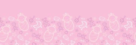 Modello senza cuciture orizzontale rosa della neonata Fotografia Stock