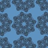 Modello senza cuciture ornamentale su struttura blu Il modello senza fine può essere utilizzato per la carta da parati, i materia Fotografia Stock Libera da Diritti
