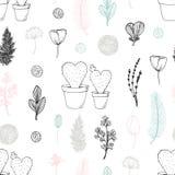 Modello senza cuciture pastello con i cactus ed i fiori disegnati a mano Priorità bassa sveglia di doodle royalty illustrazione gratis