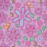 Modello senza cuciture pastello sveglio della farfalla del fiore dell'uccello royalty illustrazione gratis