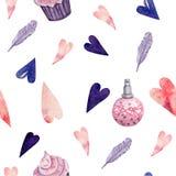 Modello senza cuciture per il giorno di biglietti di S. Valentino per i prodotti del tessuto e della carta illustrazione di stock