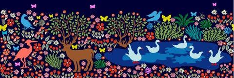 Modello senza cuciture per la pittura e gli affreschi della parete Uccelli ed animali di fantasia in dar Fotografia Stock Libera da Diritti